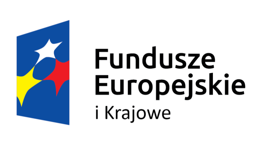 czarne litery i logo składające się z niebieskiego prostokąta i 3 gwiazdek w kolorach biały czerwony i żółty