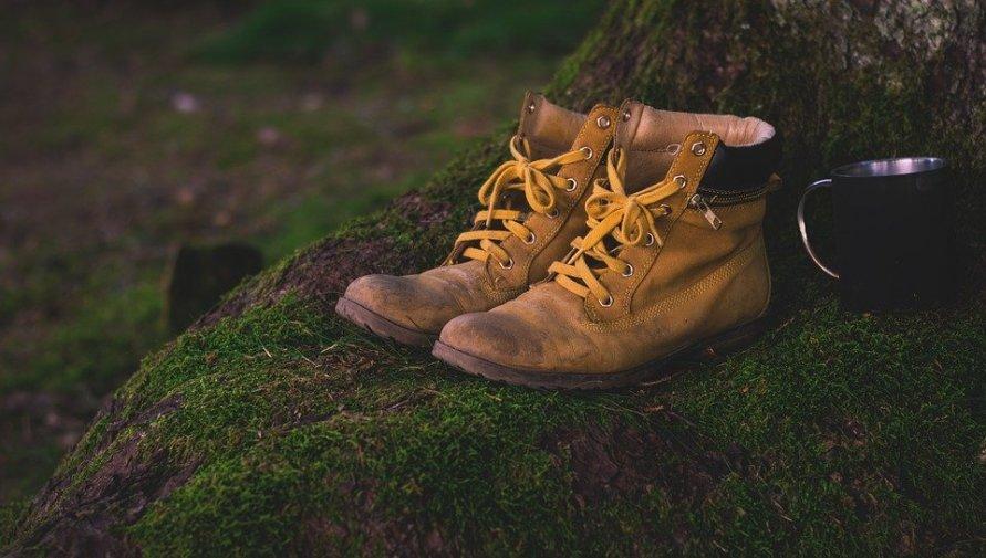 Para żółtych butów stoi na mchu pod drzewem, obok czarny, aluminiowy kubek