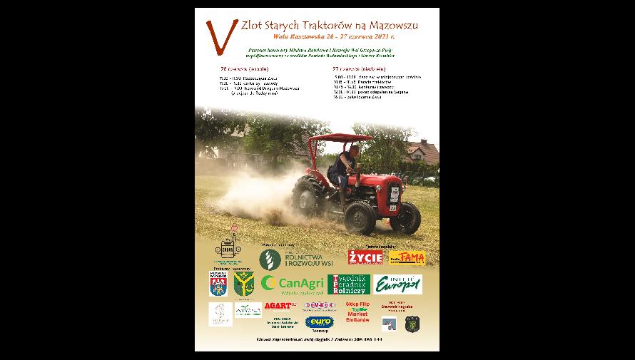Plakat z wizerunkiem rolnika na traktorze