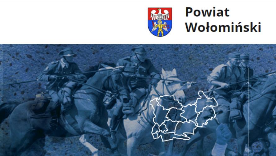 napis powiat wołomiński, logo powiatu oraz grafika ze zdjęciami z obchodów Bitwy Warszawskiej w Ossowie